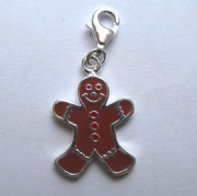 Sterling Silver enamelled clip on gingerbread man charm